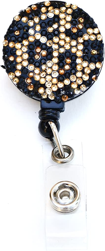 Luxury Handmade Fashion Retractable White Bling Crystal Badge Reel Cute Rhinestone Badge Holder Reel Clip For ID Badge Holder