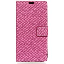 Case for Alcatel A3 [PU Leather], BasicStock Woven Stand Function Magnetic Closure Wallet Case with Money and Card Slots Flip Cover Screen Protector for Alcatel A3 (Hot Pink)