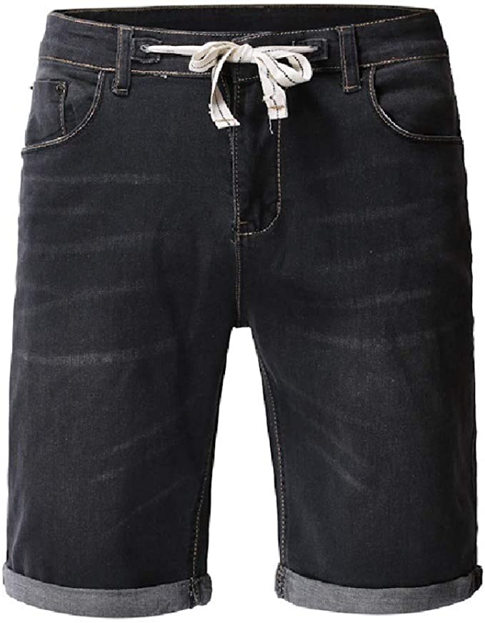 VITryst Mens Drawstring With Pocket Washed Ombre Denim Stylish Jean Short Pant
