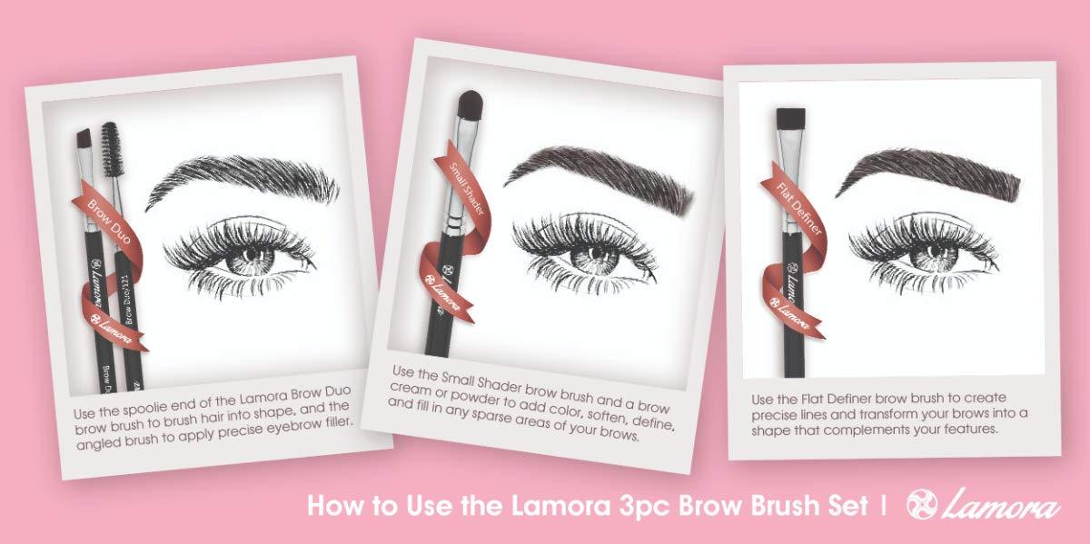 Eyebrow Brush - Duo Eye Brow Spoolie - Angled Eyeshadow Eyeliner -  Precision Flat Definer - Small Shader -