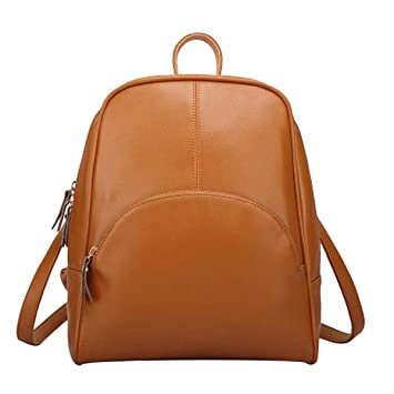 269f20d066a ABage Women's Backpack Purse Vintage Genuine Leather Travel Lightweight  Backpack, Brown