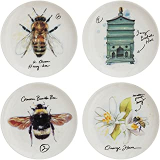Set of 4 Assorted Stoneware Bee 4\  Diameter Plates  sc 1 st  Amazon.com & Amazon.com: Stoneware Plate Vintage Honey Bee Designs Set of 4 ...