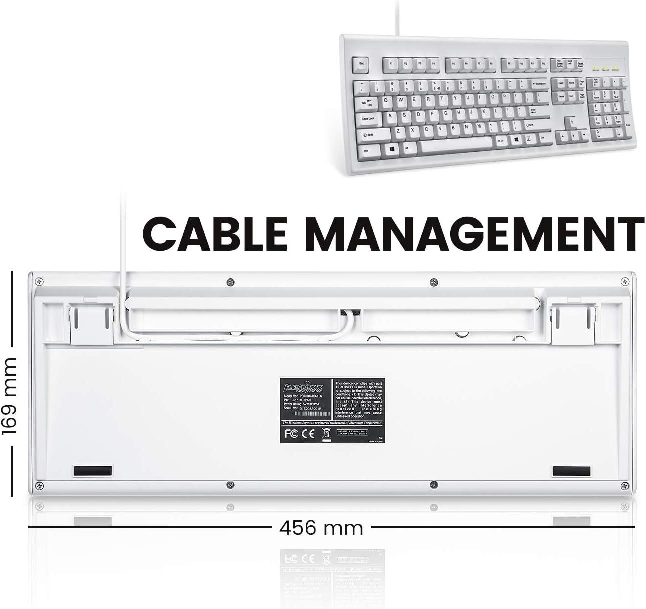 Perixx PERIBOARD-106 Teclado USB Inglés (US QWERTY) - Alto Rendimiento - Teclas más altas - Tamaño Completo con Teclado Numérico - Blanco