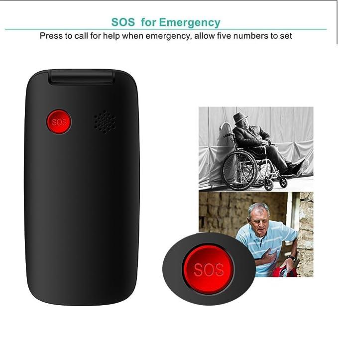 YINGTAI T15 2G Teléfono Móvil con Tapa para Personas Mayores con Teclas Grandes, Fácil de Usar Celular para Ancianos con SOS Botones