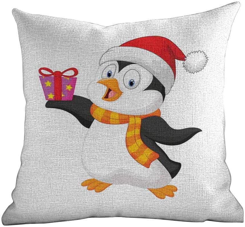 """Matt Flowe Soft Pillow Case Baby,Friendly Penguin Character with Christmas Attire Holding an Ornate Box North Pole,Multicolor,for Home Sofas,bedrooms,Offices,and More 16""""x16""""inch"""
