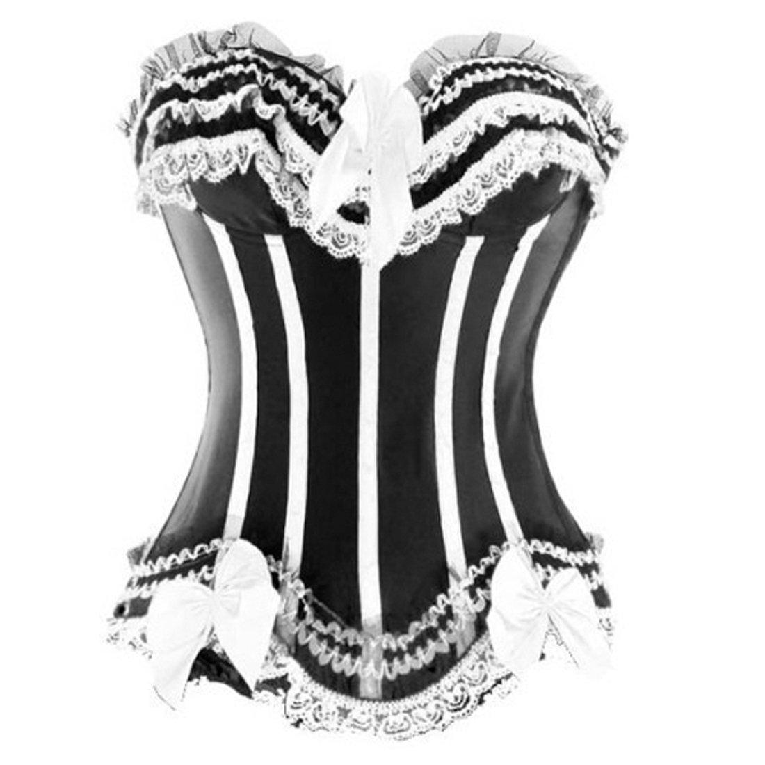 JL Classic Ladies Stripe Satin Boned Waist Shape Corsets Party Clubwear
