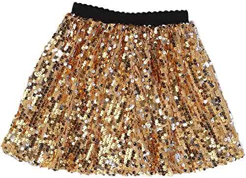 58ac1a061 Flofallzique Girls Sequin Skirt with Elastic Waistband Girls Mini Skirt for  1-12 Years Old