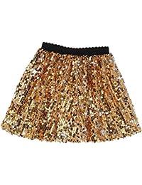 Girls Sequin Skirt with Elastic Waistband Girls Mini Skirt for 1-12 Years Old