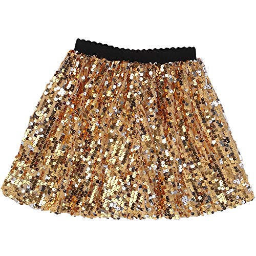 - Flofallzique Toddler Sequin Girls Skirts for 1-12 Years Old Dancing Party Easter Girls Clothes((6, Gold)