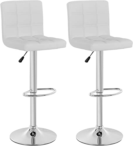 Counter Height Bar Stool Set of 2 Barstools Modern Swivel Bar Stool Hydraulic Home Kitchen Stools Height Adjustable PU Leather Bar Chairs Dining Room Chairs