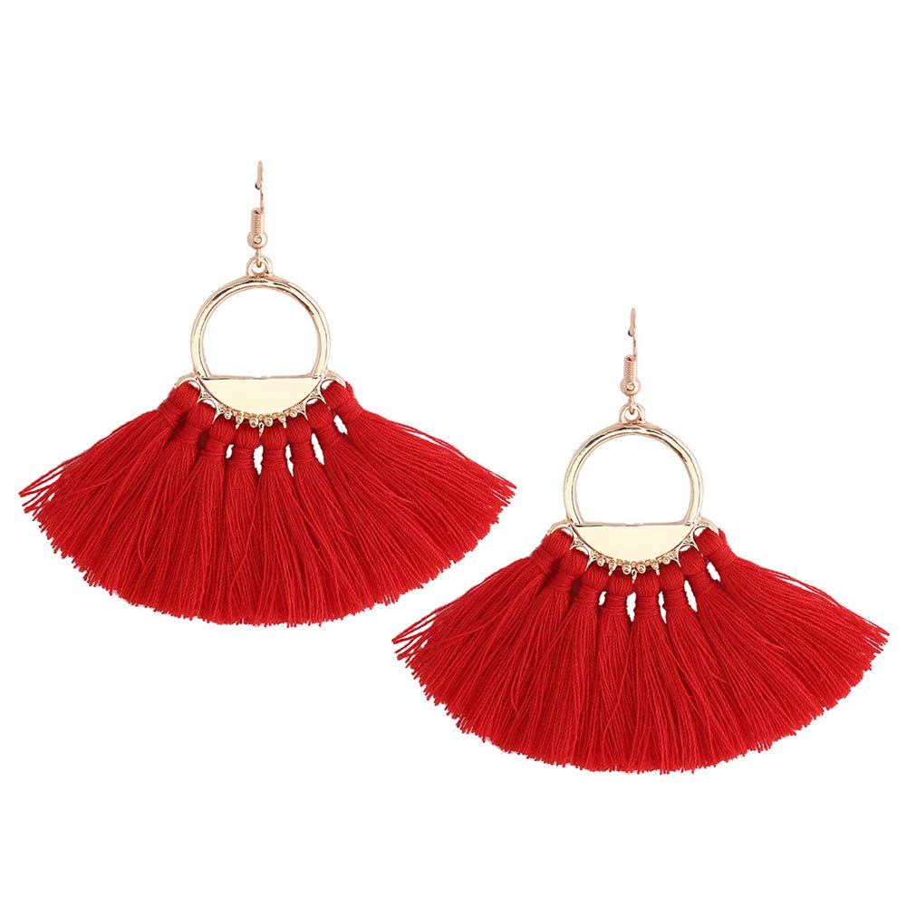 Fan Shaped Thread Tassel Dangle Earrings Bohemian Ethnic Fringe Drop Earrings Statement Earrings YXD ELS-160