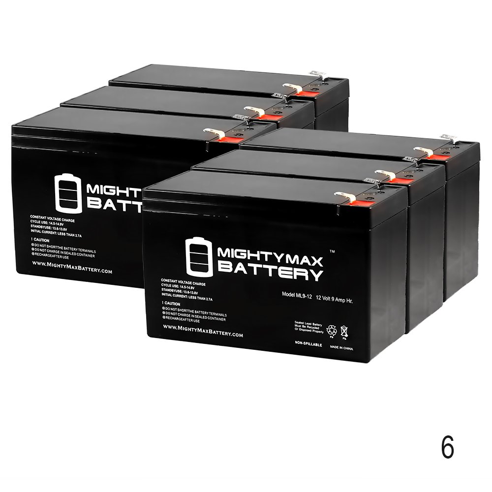 6 Pack Brand Product Mighty Max Battery 12V 9Ah Battery Replacement for Clary Corporation UPS1125K1G