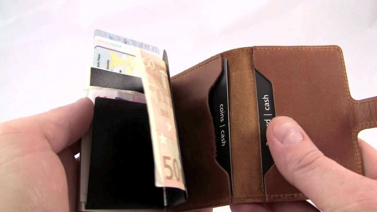Secrid mini wallet leather vintage brown, Very Slim Credit Card Wallet / with RFID protection, with one click all cards slide out gradually