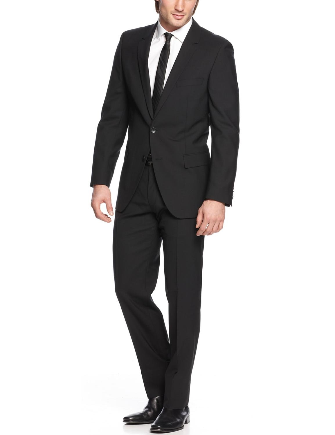 1f7583b4b Hugo Boss Mens Aamon/Hago Lined Wool Two-Button Suit Black 40S: Amazon.ca:  Sports & Outdoors