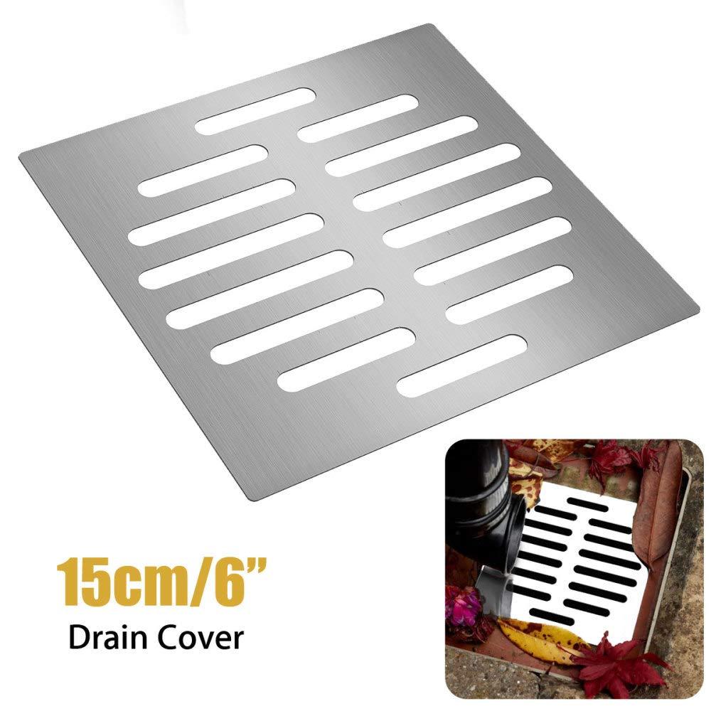 DYLYGWZ Scarico per Doccia 15X15cm Accessori per Vasca da Bagno con Filtro per Scarico a Pavimento in Acciaio Inossidabile