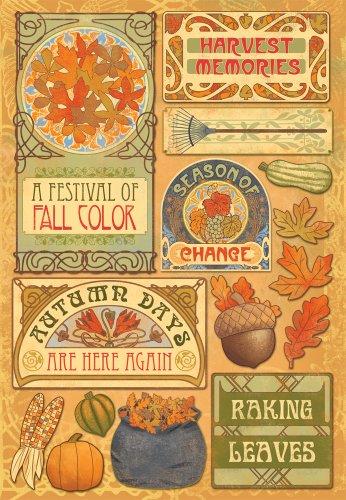 KAREN FOSTER Design Acid and Lignin Free Scrapbooking Sticker Sheet, Colors of Fall