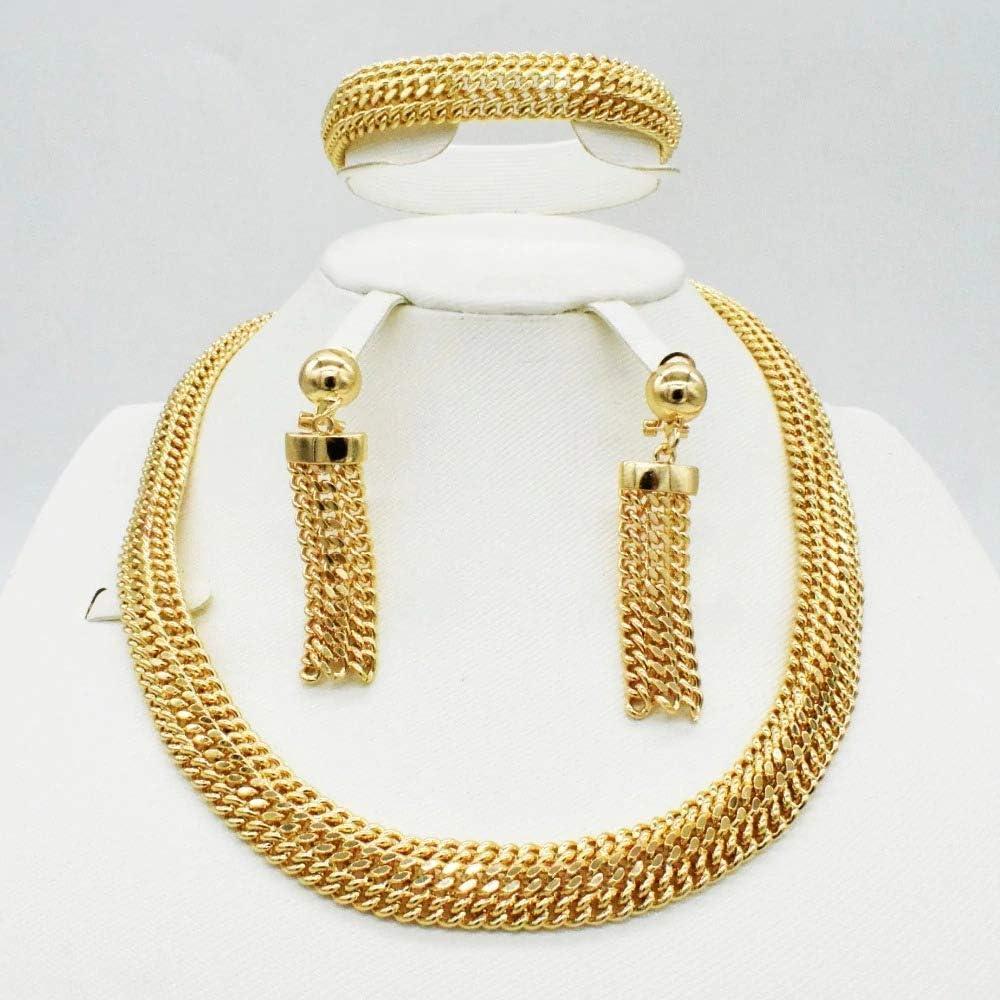 Bridal Gift Nigerian Wedding African Beads Jewelry Set Brand Woman Fashion Dubai Gold Color Jewelry Set Wholesale Design Hong TTH