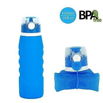 Botella de agua plegable de HoShip (1000 ml), botella plegable reutilizable de silicona