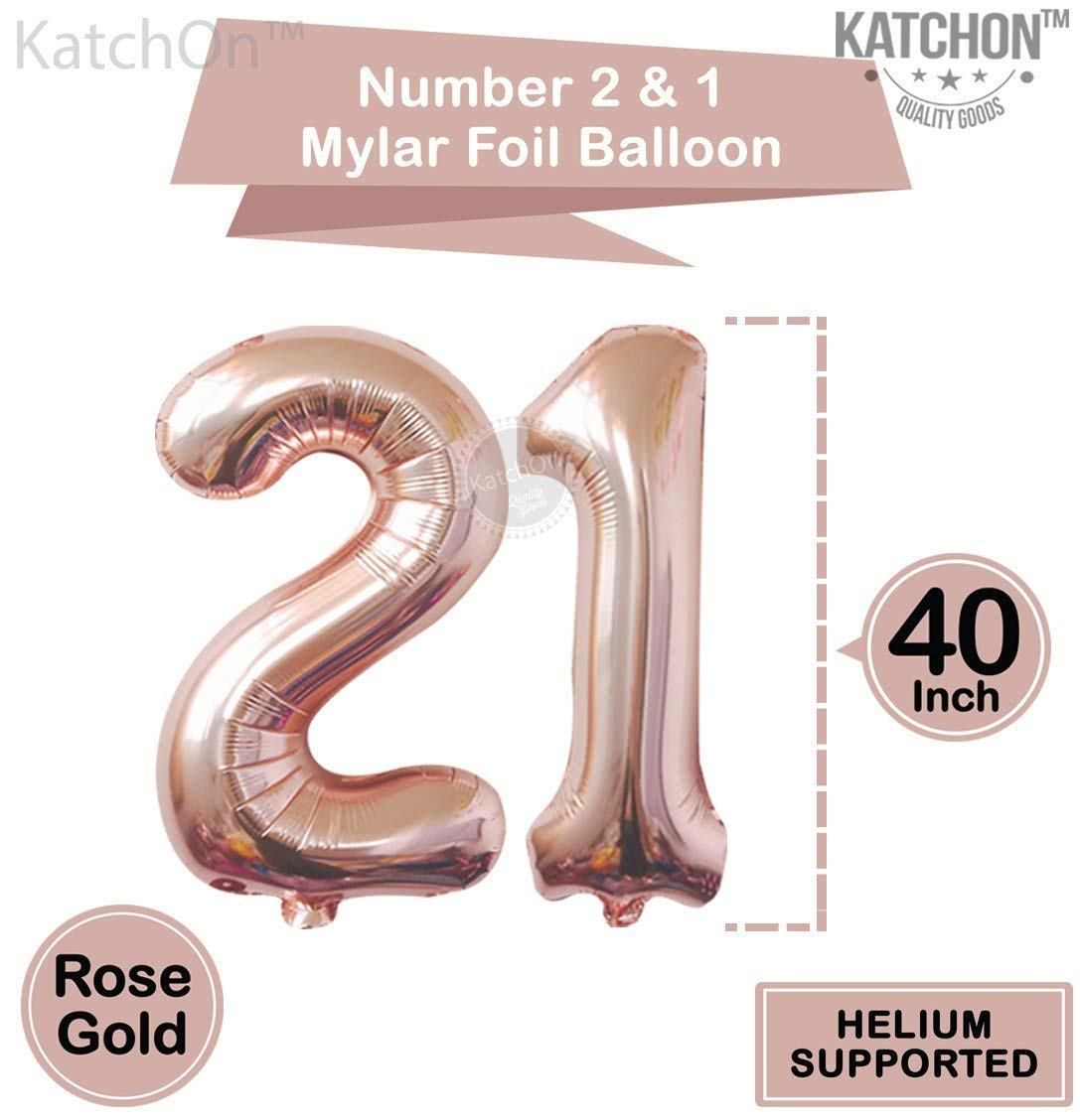21 Number Balloons, Rose Gold