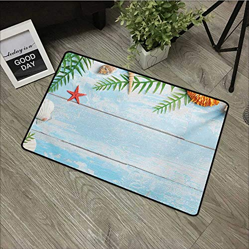Printed Door mat W19 x L31 INCH Seashells,Star Fish Seashell Tropic Plants Leaves Seaweed Nautical Boat Marine,Pale Blue Green Amber Natural dye Printing to Protect Your Baby's Skin Non-Slip Door Mat