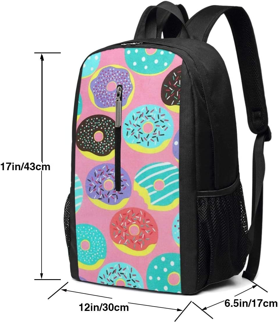 Business Durable Laptop Backpack Water Resistant College School Computer Bag Gifts for Men Women Black ~ Pink Happy Donut Backpack 17in X 12in X 6in