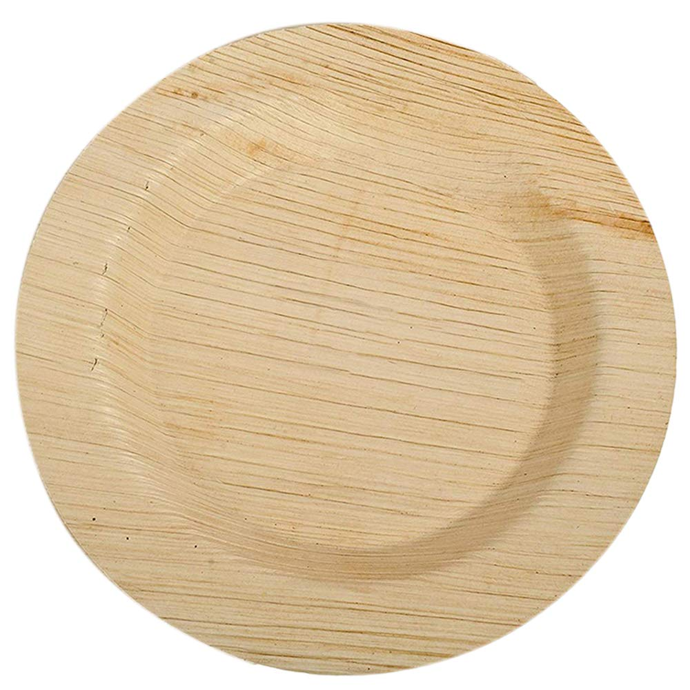 100 Ct 17x17 cms Deluxe Palm Leaf Dinner Plates CaterEco