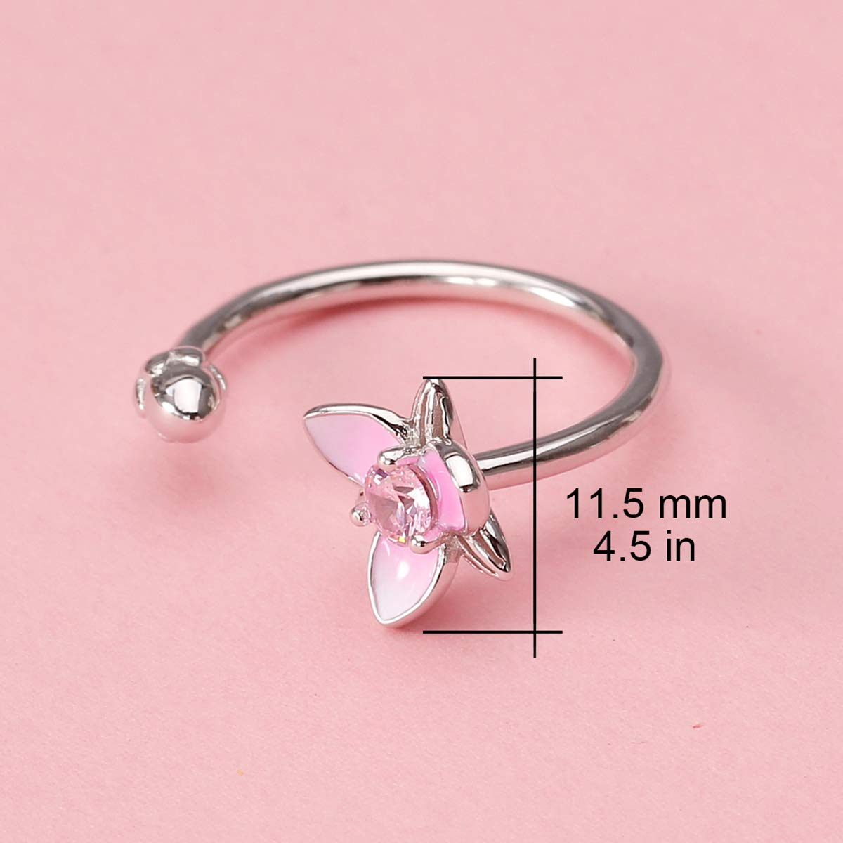 JEWME 925 Sterling Silver Women Lotus Flower Ring Adjustable Open Tail Fine Jewelry with High polished