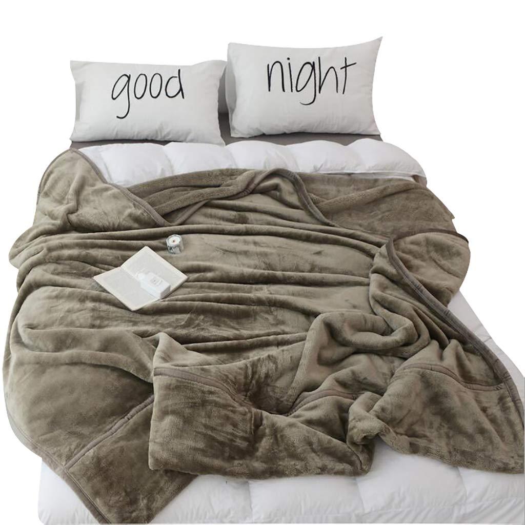 HSBAIS 赤ちゃんの大人のための柔らかい毛布 小さい毛布ダウン/フル/クイーン/キングサイズ冬暖かい毛布のフランネル厚めの洗濯可能な投げ,brown_79*90inch B07LDQ99H5 brown 79*90inch