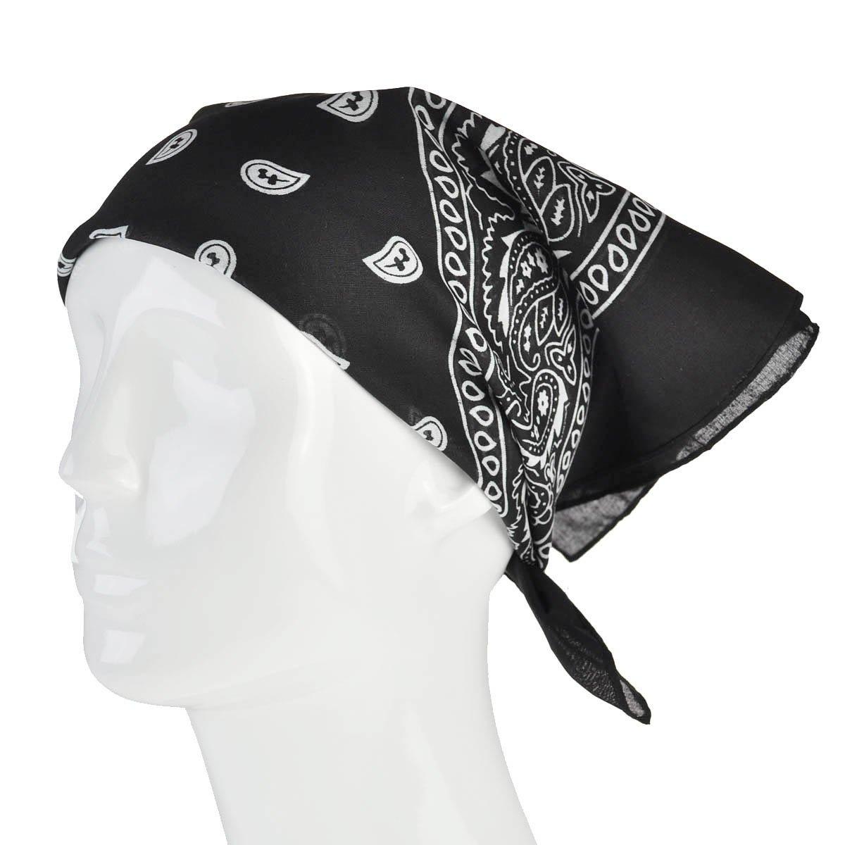 Bandana Scarf Head Scarf Neck Scarf Paisley Various Colours Unisex Men Women Bandana Scarf Paisley- Black