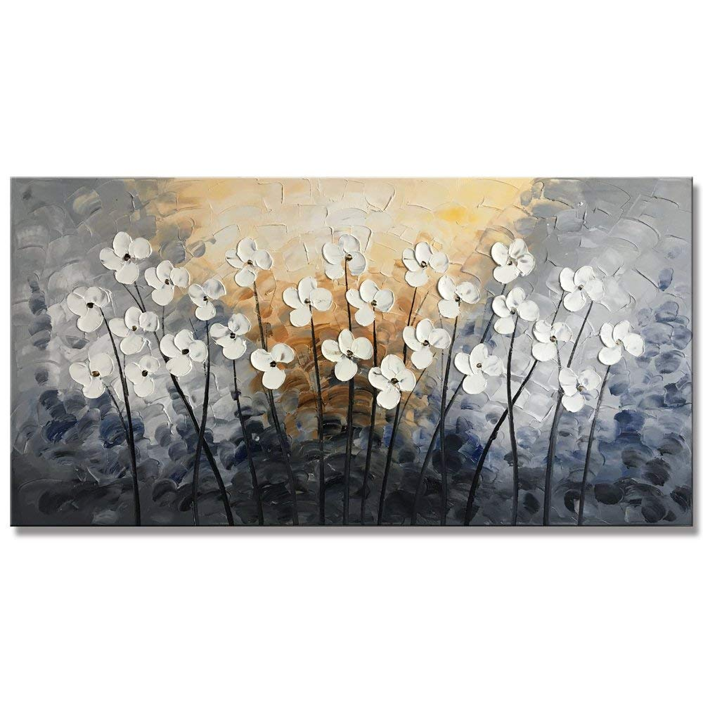 Yihui Arts Hand Painted Texture Large Oil Painting on Canvas Flower Wall Art for Living Room Decor Contemporary Artwork Framed Ready to Hang (20Wx40L)