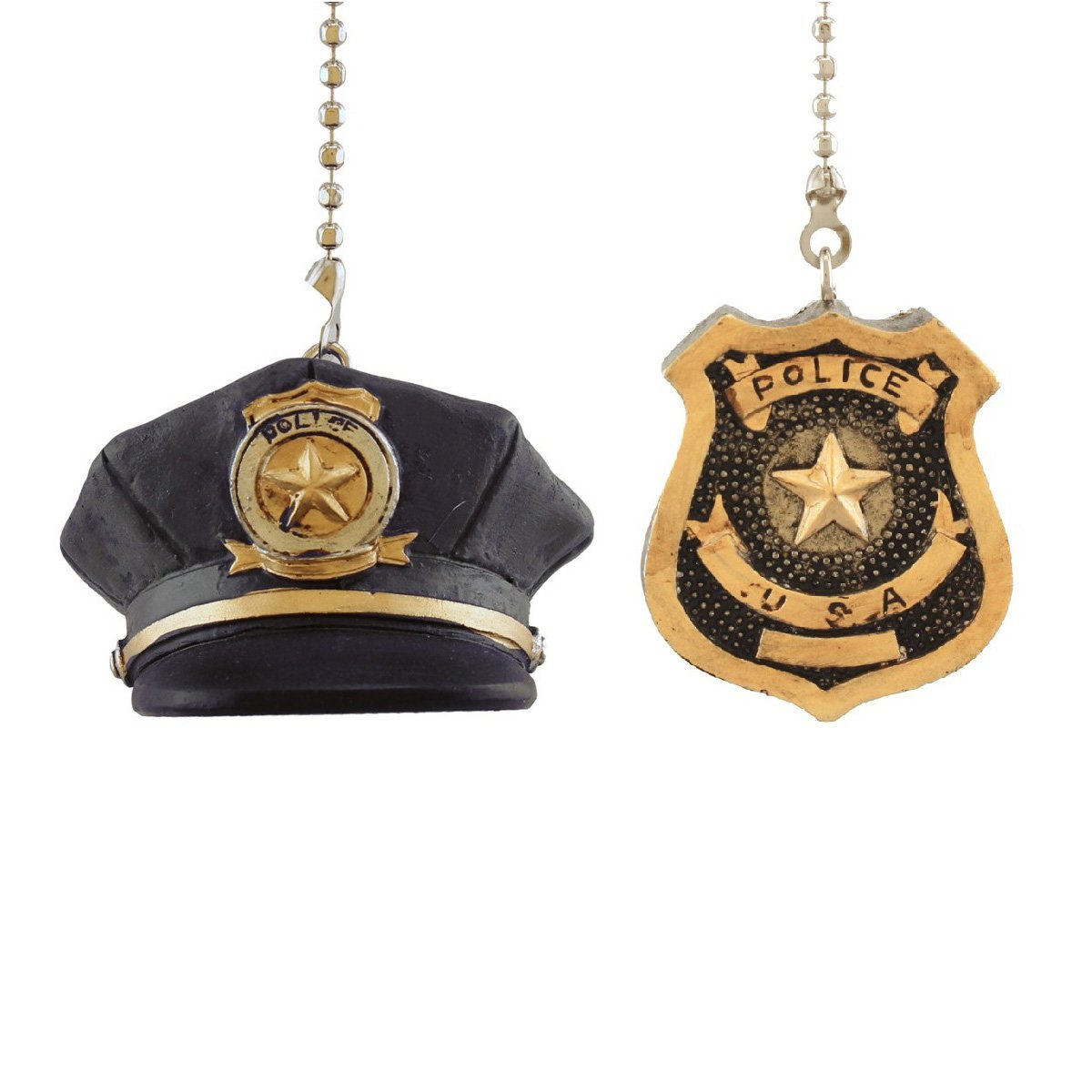 Police Hat and Badge 2 Piece Fan Pull Set