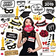 Photo Booth Props - Graduation Party Supplies 2019 Class Decorations Favors Decor