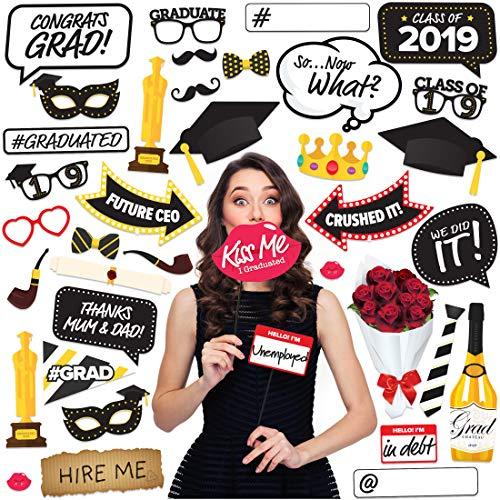 Joyousa Graduation Photo Booth Props Party Supplies 2019-38pcs Set - Class Decorations Party Favors Decor -