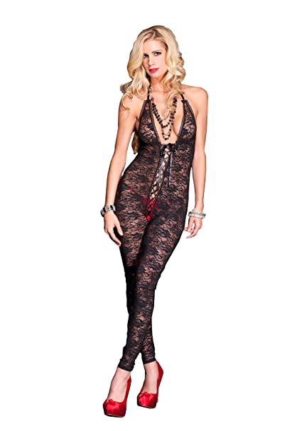 93d9a9bdbf Amazon.com  Music Legs Women s Plus-Size Romantic Floral Lace Footless Deep  V Crotchless Bodystocking