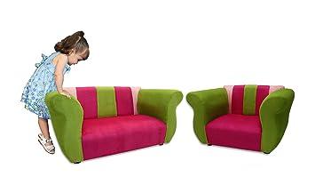 KEET Sofa And Chair Fancy Kidu0027s Set, Pink/Green