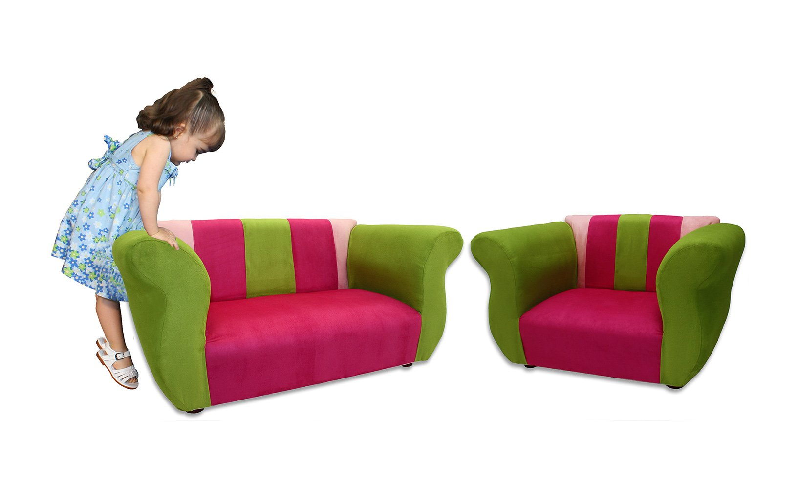 KEET Sofa and Chair Fancy Kid's Set, Pink/Green