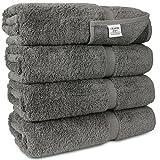 Chakir Turkish Linens Turkish Cotton Luxury Hotel & Spa Bath Towel, Bath Towel - Set of 4, Gray