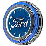 Trademark Gameroom Ford-Chrome Double Rung Neon Clock-Ford-Genuine Parts