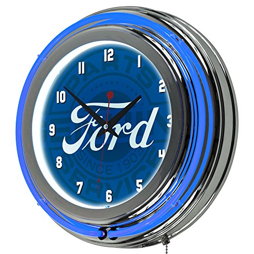 Trademark Gameroom Ford Chrome Double Rung Neon Clock - Ford