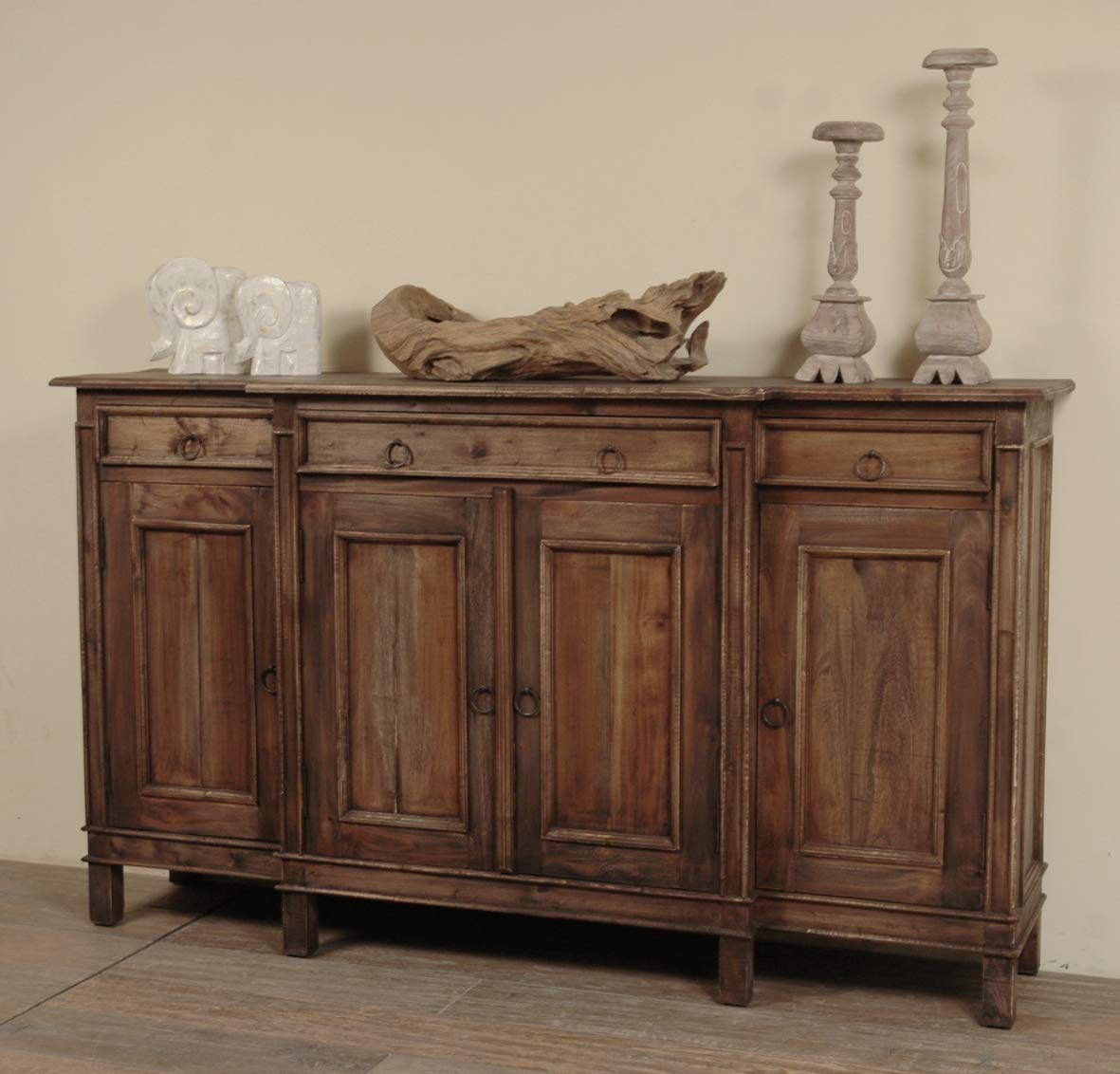 Sunset Trading Shabby Chic Cottage Dark Wood Sideboard, Four Door, Raftwood by Sunset Trading
