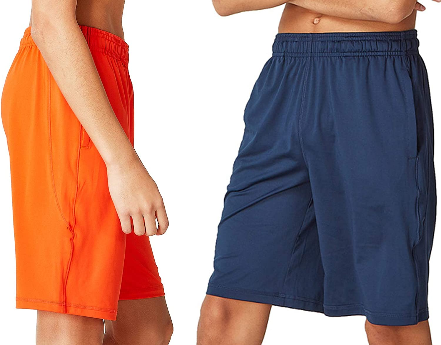 DEVOPS Boys 2-Pack Active Athletic Basketball Shorts with Pockets: Clothing