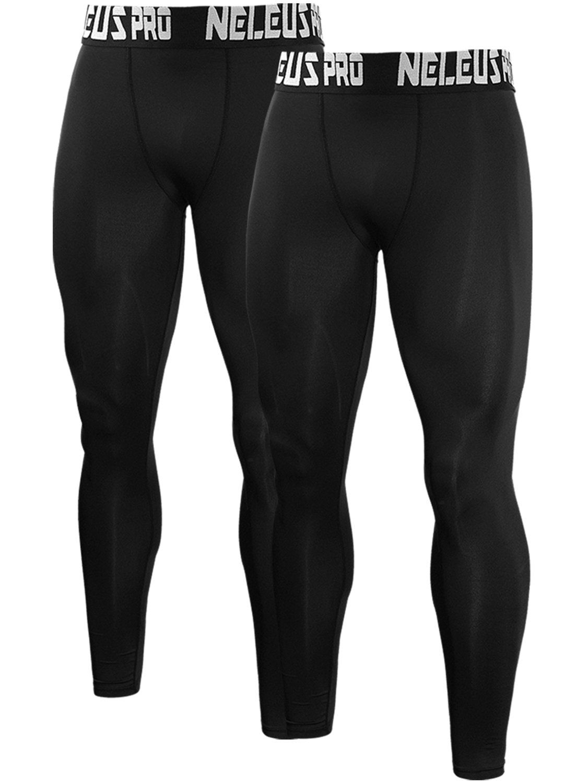 Neleus Men's 2 Pack Compression Tights Sport Running Leggings Pants,6019,Black,US S,EU M