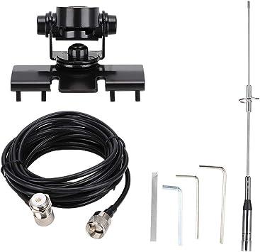 Juego de antena de radio de coche,antena de banda dual impermeable VHF/UHF con base magnética,cable de 5 m RG-58/U,cubierta de imán de goma,antena de ...