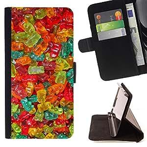 - gummy bear candy sweets food colors - - Prima caja de la PU billetera de cuero con ranuras para tarjetas, efectivo desmontable correa para l Funny HouseFOR Samsung Galaxy A3