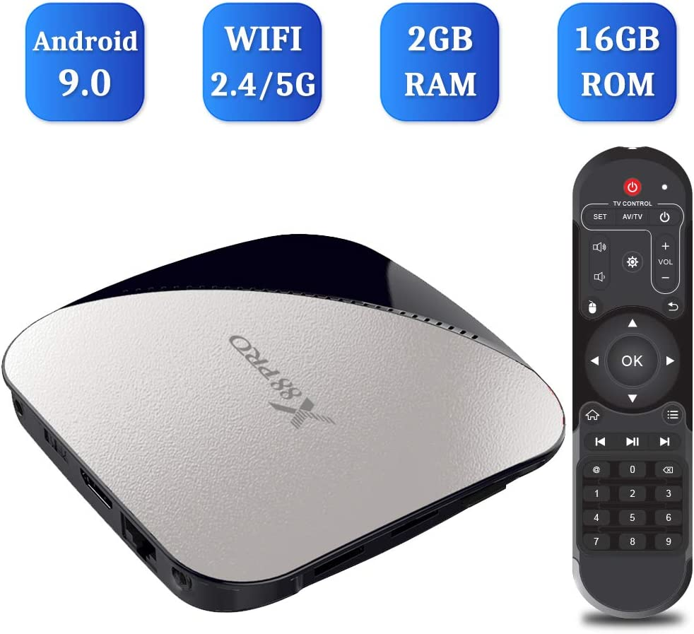 Android 9.0 TV Box, TUREWELL X88 Pro Android Box RK3318 Quad-Core 2 GB RAM 16 GB ROM soporte Dual WiFi 2.4 GHz/5 GHz/3D/4K/H.265 Smart TV Box: Amazon.es: Electrónica