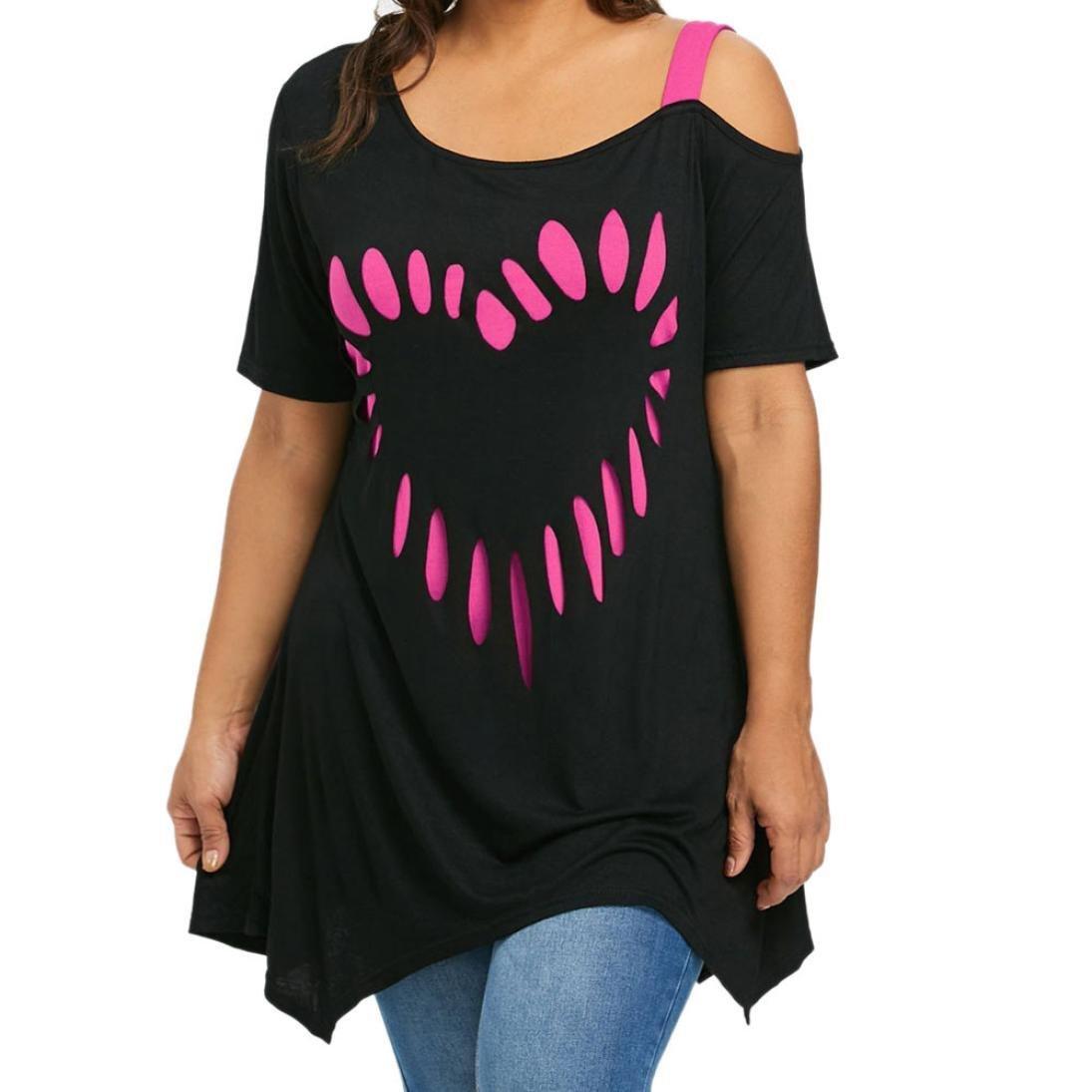 ❤️ Camisetas Mujer Tallas Grandes, Las Mujeres Grandes del tamañ o aman la Camisa de Manga Corta de la Camisa Casual de la impresió n de la Blusa Absolute