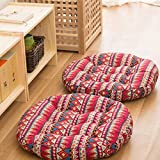 TMJJ Cotton & Linen Round Floor Pillow Cushion Japanese Style Futon Seat Cushion Thicken Chair Wave Window Pad 21'' x 21'',Set of 2 (Bohemia)