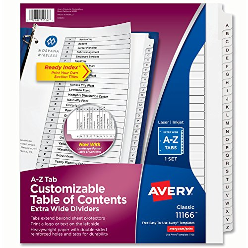 New Avery Extra-Wide Customizable Table of Contents Dividers, Ready Index Black/White, A-Z, 26-Tab Set (11166)