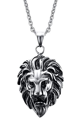 Vnox mens stainless steel lion head pendant necklace punk rock cool vnox mens stainless steel lion head pendant necklace punk rock cool jewelry silverfree chain mozeypictures Gallery