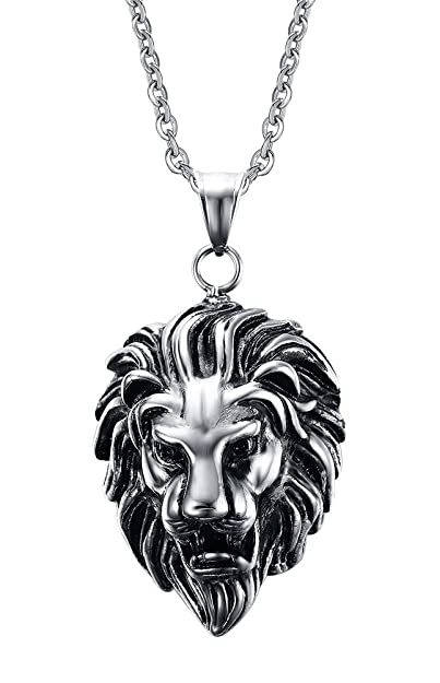 Stainless steel lion head pendant necklace amazon stainless steel lion head pendant necklace aloadofball Choice Image